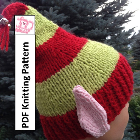 Knitting Pattern Elf Hat : PDF KNITTING PATTERN hat knitting pattern Elf Ears Jingle
