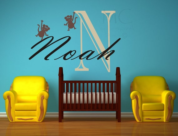 Vinyl  Decal Vinyl Monogram Decal Child's Name and Initial Decal Custom Vinyl Decal