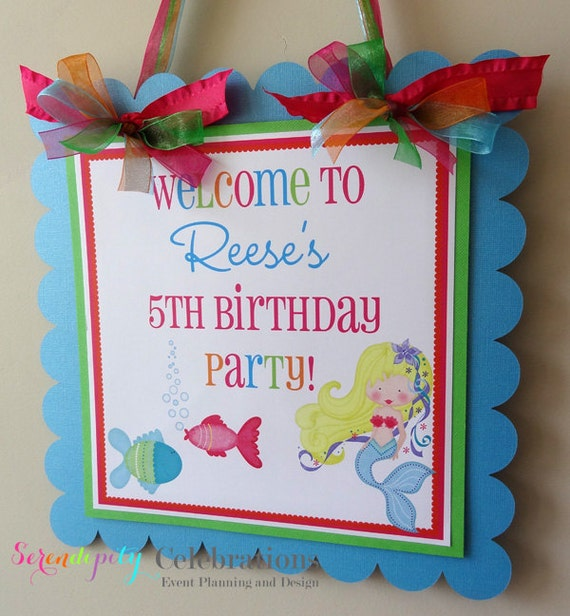 Under The Sea Mermaid Collection: Door Sign -Party Sign -Baby Shower -Birthday Party -Mermaid