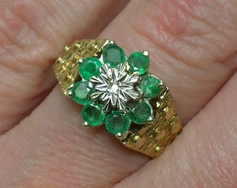 Emerald & Diamond Engagement Ring, English 9K. Retro Brutalist 1970s. Size 5 3/4