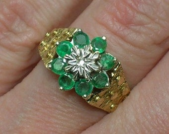 Emerald & Diamond Engagement Ring, English. Retro Brutalist 1970s