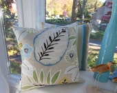 Large Designer Pillow - Natures Delight Cream Pillow - Blue, Green, Gold, Beige and Cream - Reversible 20 x 20 Inch - Pillow Insert Included