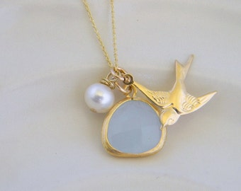 Mint Green Dove and Pearl  Necklace- Charm Necklace- Bridesmaid Gift-Bridal Jewelry