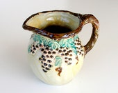 Rustic Art Pottery Pitcher Handcrafted Signed Numbered Vintage Pitcher Brown Teal