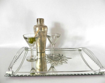 French vintage mirror serving tray art deco 1960s