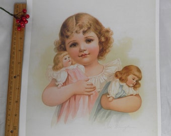 Poster Little Girl Holding Toy Dolls  - Vintage Framable Poster Art - Nursery Child Room Decor - Ida Waugh Artist