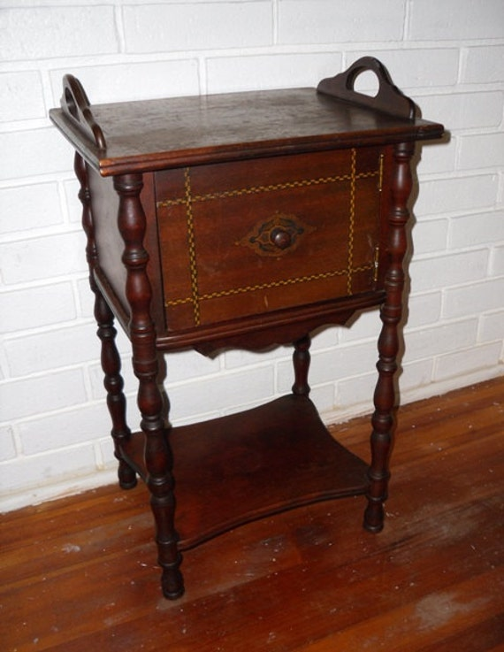 Antique Cigar Stand Humidor Copper Lined Side Table