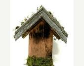 Wood Birdhouse- Decorating Ideas- Woodsy- Rustic- Weathered- Tiles- Peak