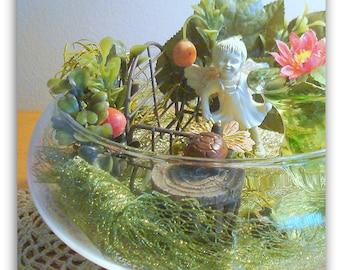 Miniature Fairy Garden Hidden Enchanted Garden Hand Crafted Home Decor Centerpiece Table Decor Glass Bowl Fairy on Bench Turtle