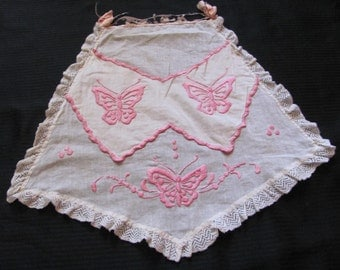 Apron Antique Child's White Sheer Pink Embroidered Half Apron