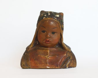 Vintage Esther Hunt Chalkware Bust - AH WU - chinese girl in traditional clothing