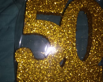 STYROFOAM glittered    number 50 craft. cake topper centerpiece anniversary Birthday.