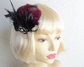 CUSTOM LISTING,Black and Burgundy feather hair clip,1920s fascinator,Gatsby hair clip,1920s,Fascinator,Art deco, black birdcage veil, veil