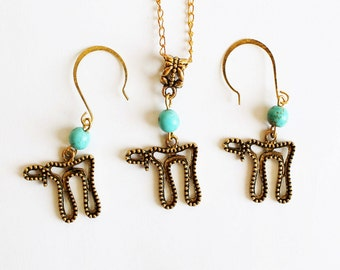 Chai necklace and earrings set, Chai charm necklace, Chai earrings set, Chai necklace set