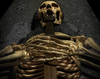 Medieval Skeletal Ancient Photograph Composite - The Forgotten King - skull skeleton sword fantasy 30x40