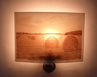 Harvest nightlight - moisson in the french countryside