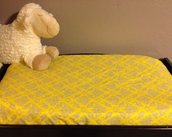 Changing Pad Cover-Yellow & Gray Damask