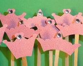 Pretty Pink Princess Crown Cakes - Couture Glitter Tiara Cupcake Topper Decorations - set of 12