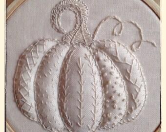 Hand Embroidery Pattern Pumpkin Sampler Autumn Greetings