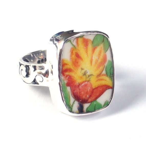Size 7 Broken China Jewelry Johnson Bros Pareek Tulip Flower Sterling Ring