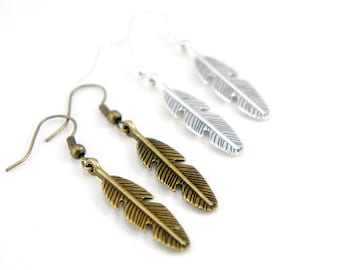 Feather Earrings - Antiqued Brass or Silver Plated Vintage Style Feather Dangle Earrings - CP051/CP052