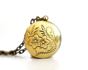 Two Flowers - Tiny Vintage Style Antiqued Brass Round Locket Necklace - LN030