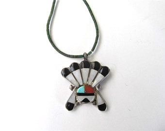 Vintage Zuni Native American Multi Stone Sterling Silver Inlay Sun Face Pendant  Genuine Turquoise Beaded Necklace