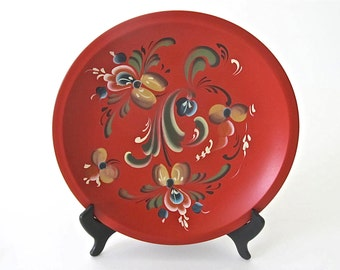 Vintage Hand Painted Tole Style Red Wood Bowl