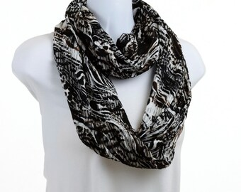 Long Eternity Scarf - Abstract Animal Print - Black, Brown, White and Gray ~ K087-L1