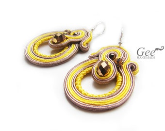 "Soutache statement earrings ""Vanilla"""