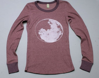 SALE full moon at midnight Thermal Top, Size L