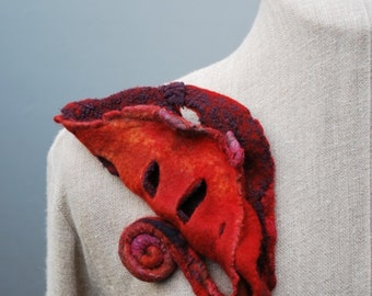 Brooch pin, hand felted, hand dyed, large fiber art brooch, OOAK wearable art accessory, bohemian textile jewelry, women's handmade fashion
