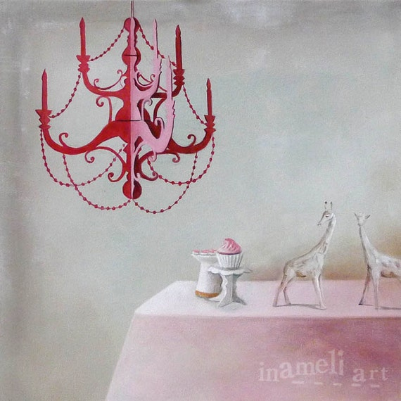 Still life art print from original canvas painting, realism painting, red antique chandelier,  interior art, 8x8inch