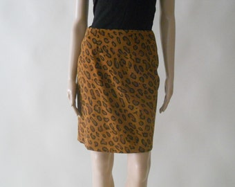 suede leopard cheetah print knee length skirt . small