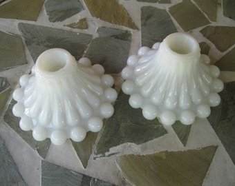 Anchor Hocking Milk Glass Candle Holders Boopie Berwick Beaded Edge Vintage Wedding