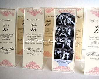 Photo Booth 2x6  Acrylic Frames and Escort Cards, A party favor and escort card in one.