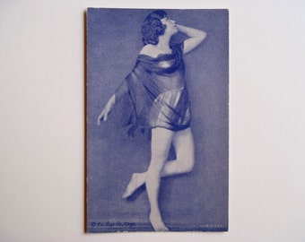 Antique Arcade Card 1920s Pin-Up Exhibit Supply Company Chicago Collectible Slightly Risque Pin Up Card Blueish Black Ink