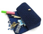 Navy blue bargello needlepoint clutch - vintage summer needlework purse - retro preppy fashion handbag