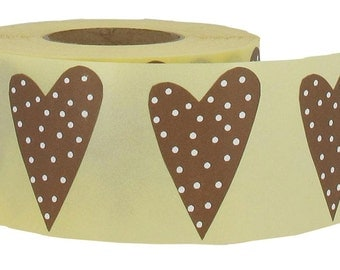 Brown Polka dot Heart Stickers, set of 24,  1.3 x 2 inches, from Finland