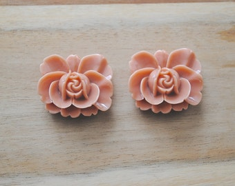 SALE -  Large Cabochon Resin Flower Charm - Set of 3-