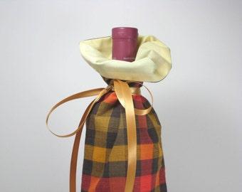 Autumn Plaid Class Wrap Wine Gift Bag