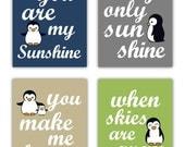 Penguin Art // Art for Boys // You Are My Sunshine Art Prints // Boys Nursery Decor // Baby Boy Nursery Art // Four PRINTS ONLY UNFRAMED