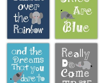 Somewhere Over the Rainbow Art // Elephant Art for Kids // Baby Boy Nursery Decor // Blue Nursery Wall Art // 4-8x10 PRINTS ONLY