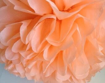 1 Peach Tissue Paper Pom Pom, Paper Pom Pom, Wedding Pom, Nursery Decor, Wedding Decoration, Party Supplies, Bat Mitzvah, Bridal Shower, DIY