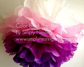 Color Block Tissue Paper Pom Pom, Choose your own 4 colors, Paper Pom Poms, Wedding Pom Pom, Party Decorations, Nursey Decor