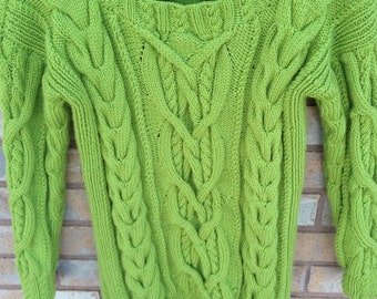 Hand Knit Sweater, Women's sweater, Hand Knit Sweater, Cable sweater