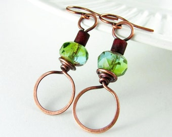 Wire Wrapped Earrings Copper Earrings Hoop Earrings Peridot Czech Glass Copper Jewelry Wire Wrapped Jewelry Copper Hoop