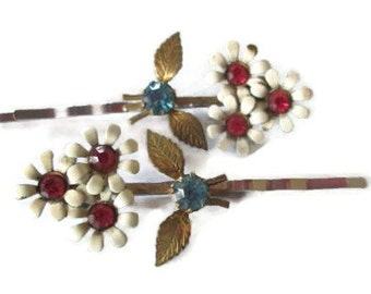 White Flower Hairpins Bohemian Hair Accessories Statement Repurposed Vintage Jewelry