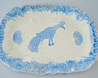 Ceramic Platter, Peacock Platter, cobalt blue, Lace platter, blue white, Pottery serving Platter, lace pottery, paisley plate, india