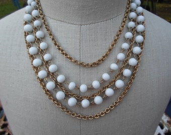 Vintage 1950s to 1960s White Glass Multistrand Chains Beads Gold Tone Layered Adjustable 5 Strands